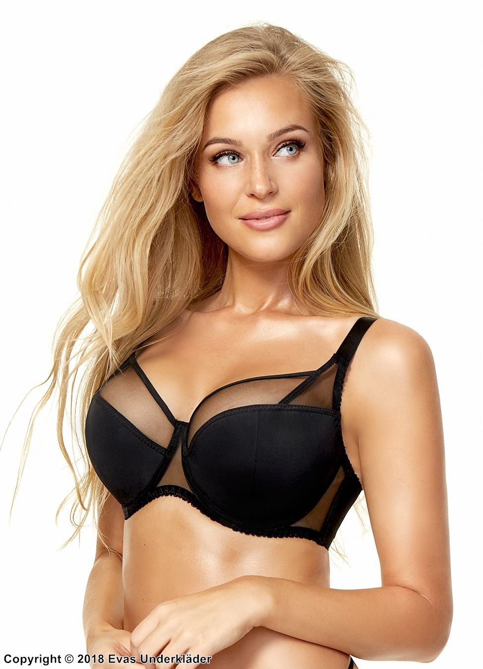 Stylish bra, microfiber, mesh inlay, B to K-cup